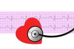 Cuore e stetoscopio sopra l'elettrocardiogramma Fotografia Stock