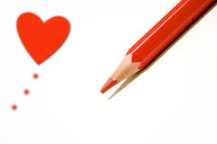 Cuore e una penna rossa Immagine Stock Libera da Diritti