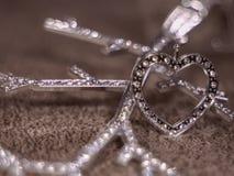 Cuore ed albero del diamante sui precedenti di lana Fotografia Stock Libera da Diritti