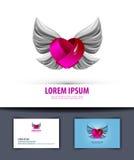 Cuore ed ali Logo, icona, emblema, modello, illustrazione di stock
