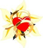 Cuore ed anelli di cerimonia nuziale con il fiore. Fotografia Stock Libera da Diritti