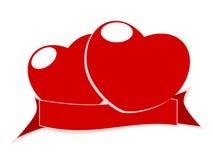 Cuore ed etichette rossi Immagini Stock