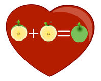 Cuore ed a metà delle mele Immagini Stock Libere da Diritti