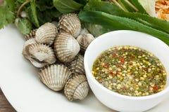 Cuore edule cucinato con la salsa di frutti di mare immagine stock