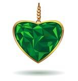 Cuore Emerald Gemstone di amore Cuore verde smeraldo nel telaio dell'oro Cuori verdi della scintilla Gemma verde smeraldo royalty illustrazione gratis