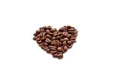 Cuore fatto dai chicchi di caffè Fotografie Stock