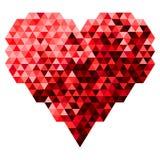 Cuore fatto del triangolo in Tone Color rossa Illustrazione di vettore Fotografia Stock