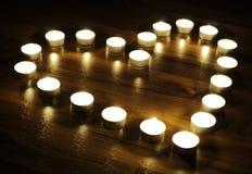 Cuore fatto delle candele Fotografie Stock Libere da Diritti