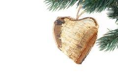 Cuore fatto di legno - tempo di natale Fotografie Stock Libere da Diritti