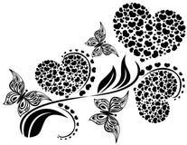 Cuore fatto di piccoli cuori e farfalle Fotografia Stock Libera da Diritti