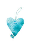 Cuore fatto a mano dei biglietti di S. Valentino blu Fotografia Stock
