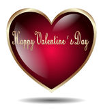 Cuore felice del biglietto di S. Valentino isolato Immagini Stock