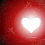 Cuore felice del documento di giorno di biglietti di S. Valentino sul lerciume Fotografia Stock Libera da Diritti