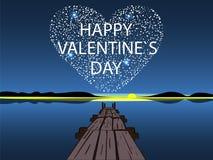 Cuore felice della stella di giorno di biglietti di S. Valentino Fotografia Stock