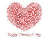 Cuore felice di giorno dei biglietti di S. Valentino con i cerchi del fiore Immagini Stock Libere da Diritti