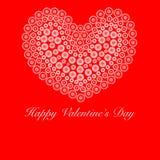Cuore felice di giorno dei biglietti di S. Valentino con i cerchi del fiore Fotografie Stock