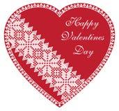 Cuore felice di rosso di giorno di biglietti di S. Valentino Immagini Stock