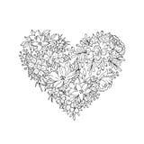 Cuore floreale in bianco e nero Immagini Stock Libere da Diritti