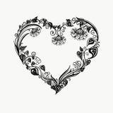 Cuore floreale Composizione nel mazzo con i fiori e le piante disegnati a mano Illustrazione romantica di amore di vettore monocr illustrazione vettoriale
