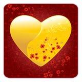 Cuore floreale del biglietto di S. Valentino Immagine Stock