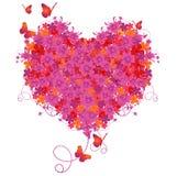 Cuore floreale del biglietto di S. Valentino Illustrazione di Stock