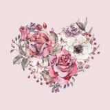 Cuore floreale dell'acquerello d'annata decorativo delle rose rosse royalty illustrazione gratis
