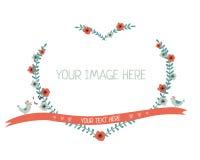 Cuore floreale della corona isolato Fotografia Stock