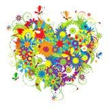 Cuore floreale di estate per il vostro disegno Fotografia Stock