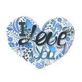 Cuore floreale Fiore creativo disegnato a mano Fondo di saluto il giorno del ` s del biglietto di S. Valentino Festività di amore Fotografie Stock Libere da Diritti