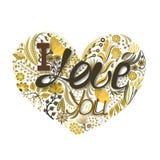 Cuore floreale Fiore creativo disegnato a mano Fondo di saluto il giorno del ` s del biglietto di S. Valentino Festività di amore Immagini Stock