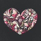 Cuore floreale Fiori creativi disegnati a mano romanzesco Fondo artistico variopinto con il fiore Erba astratta illustrazione di stock