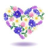 Cuore floreale isolato su bianco illustrazione di stock