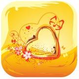 Cuore giallo del biglietto di S. Valentino Fotografia Stock