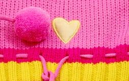 Cuore giallo del tessuto Fotografia Stock