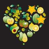 Cuore giallo della frutta Fotografie Stock