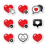 Cuore, icone di amore messe illustrazione vettoriale