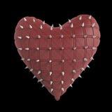 cuore imbottito con argento, metallo crespo, punte d'acciaio su superficie, rappresentazione nera isolata del fondo Biglietto di  Fotografie Stock