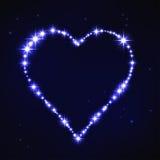 Cuore iregular blu stilizzato nello stile della costellazione della stella Fotografia Stock