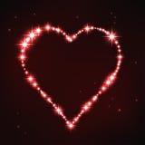Cuore irregolare rosso stilizzato nello stile della costellazione della stella Fotografia Stock