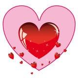 Cuore lucido dei biglietti di S. Valentino. Immagine Stock