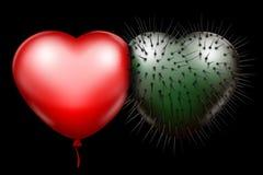 Cuore lucido rosso e cuore appuntito verde royalty illustrazione gratis