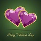 Cuore magenta di lusso del diamante di giorno di Valentineâs Fotografia Stock Libera da Diritti