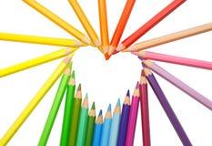 Cuore. matite di colore Fotografie Stock Libere da Diritti