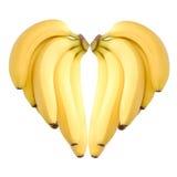Cuore maturo delle banane fotografia stock