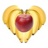 Cuore maturo delle banane con la mela all'interno immagine stock libera da diritti