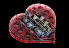 Cuore meccanico V8 isolato sul nero Immagini Stock