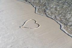 Cuore nella sabbia Fotografia Stock