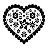 Cuore nero con i fiori Immagini Stock