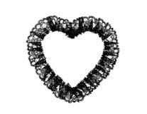 Cuore nero del merletto Fotografie Stock