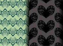 Cuore nero e modello verde del loto Fotografie Stock Libere da Diritti